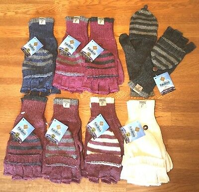 ALPACA & BAMBOO Knitted MITTENS Fingerless GLOVES Burgundy Grey Blue MEDIUM