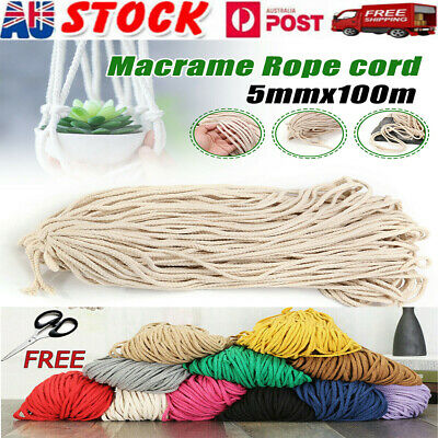 5mm 100m Natural Cotton Twisted Cord Craft Macrame Artisan Rope Craft String AU
