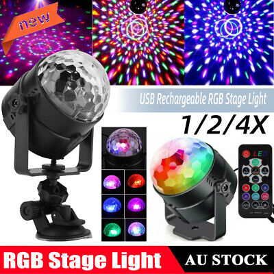 Sound Active RGB LED Stage Light Crystal Ball Disco Club DJ Party w/Remote IP33