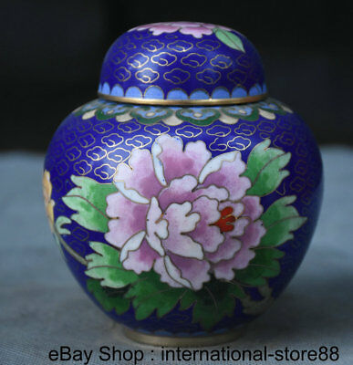"""4"""" Old Chinese Cloisonne Dynasty Palace Lotus Flower Lid Small Jug Jar Tank"""