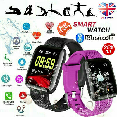 116Plus Smart Watch Bluetooth Heart Rate Blood Pressure Monitor Fitness Tracker~