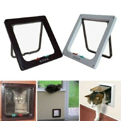 4 Way Small Medium Large Pet Cat Puppy Dog Magnetic Lock Lockable Safe Flap Door