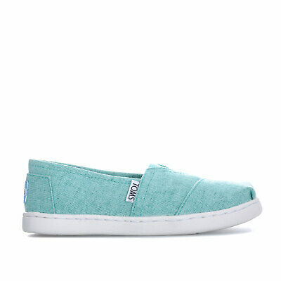 Childrens Toms Alpargata Linen Espadrille Shoes In Turquoise