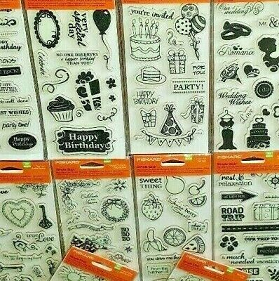 FISKARS Simple Stick ALL BOY Rubber Cling Stamps Rock Star Guitar Totally Strong