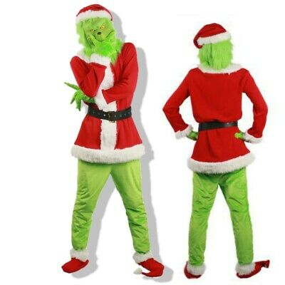 UK Santa Grinch- Adult Cosplay Costume How the Stole Christmas Outfits Mask Sets
