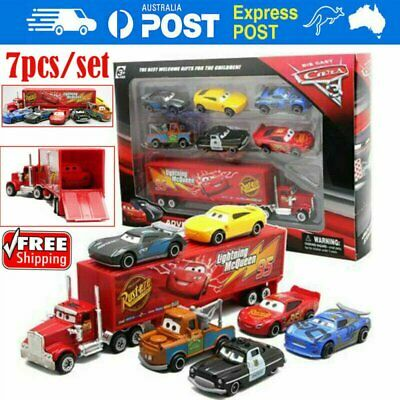 7Pcs/ Set Car 2 Lightning McQueen Racer Car&Mack Truck Collection Toy Kid Gift Y
