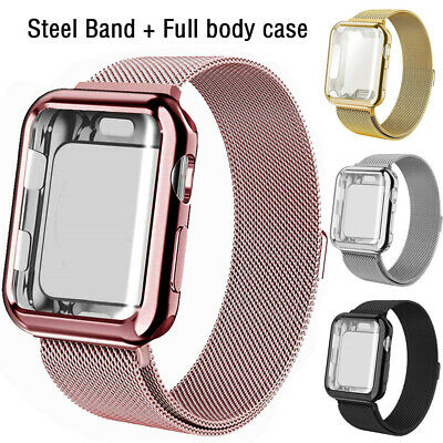 For Apple Watch 38/40/42/44mm Steel Band with Screen Protector Case 5/4/3/2/1