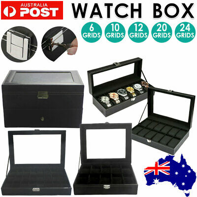 6-24 Grids Leather Watch Display Case Jewelry Collection Storage Holder Box NEW