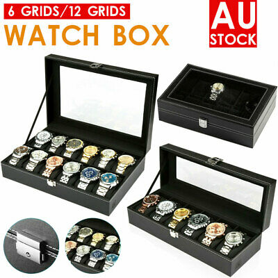 6/12  Grids Leather Watch Display Case Jewelry Collection Storage Holder Box AU