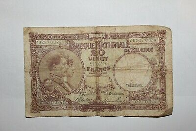 20 Belgium Francs banknote dated 1944