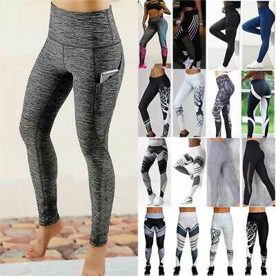 Womens Fitness Sport Compression Leggings Running Gym Yoga Pants Trousers Pocket
