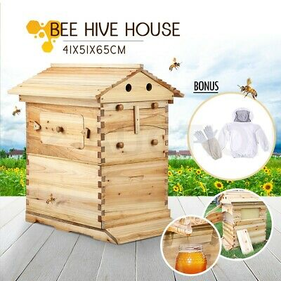Wooden Beehive Kits Honey Bee Hive Boxes House Beekeeping Starter 7 Auto Frames