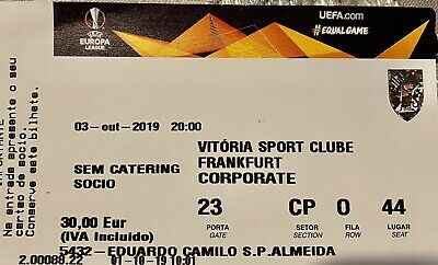 Vitoria Guimaraes v Eintracht Frankfurt 03/10/2019  Europa League Match Ticket