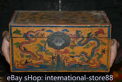"13.6"" Rare Old China Wood lacquerware Painting Dynasty Dragon Storage Box Chest"