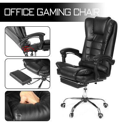 Executive Office Chair Gaming Racing Leather Recliner Swivel Desk w/ Footrest US