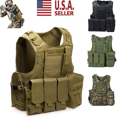 Tactical Military SWAT Airsoft Molle Combat Assault Plate Carrier Vest Gear US