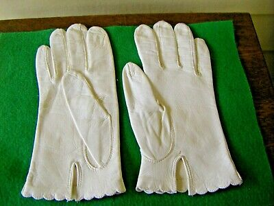 Vintage Pair of White Leather Kids or Ladies Gloves