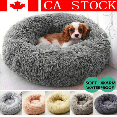 Fur Donut Cuddler Pet Calming Bed Dog Beds Soft Warmer Medium Small Dogs Cats CA