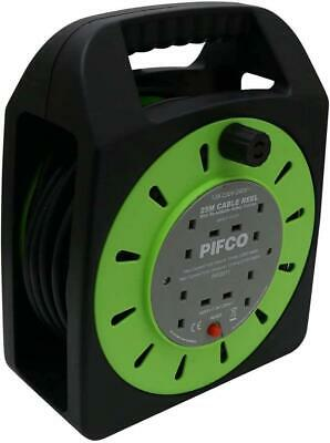 NEW PIFCO 4 Way 25 metre Long Cable Extension Reel Lead Mains Socket Heavy Duty