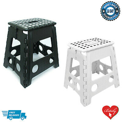 Heavy Duty Plastic Multi-Purpose Folding Step Stool Seat Home Kitchen Storage