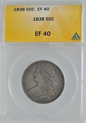 1838 Capped Bust Half Dollar High Grade ANACS Extra Fine 40  Investment Coin