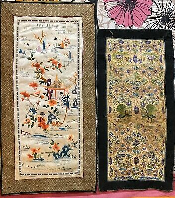 2 Antique Chinese Hand Embroidery  Wall Hanging Scenery+Sleeve Band