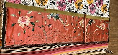 """Antique Chinese Qing Dynasty Hand Embroidery Panel Wall Hanging 20"""" X 83"""""""