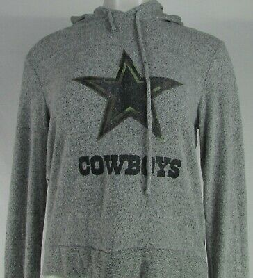 Dallas Cowboys NFL Women's Gray Plush Pullover Distressed Logo Hoodie