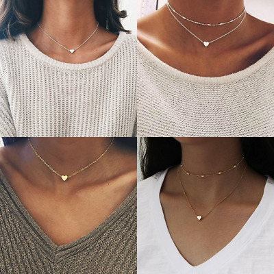 Necklace Double Layer Heart Chain Hot Multi Layer Choker Pendant Gold Silver Uk