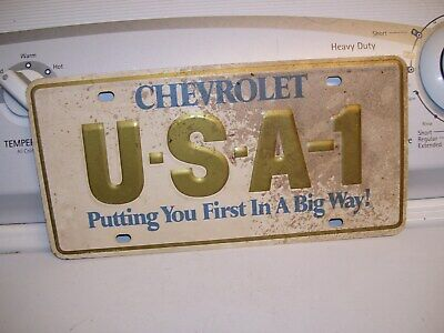 Original GM CHEVROLET 1-USA promo steel License plate dealer usa1 vintage part