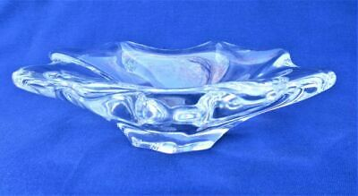 Signed BACCARAT FRANCE Art Glass Crystal Mi-Century Modern free form dish bowl