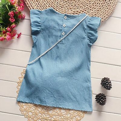 New  Baby Girls Mickey ornament Cute Casual Denim Dress Kids Summer Skirt##