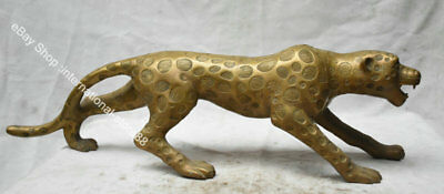 """28"""" Old Chinese Brass Feng Shui Panthera pardus Leopard Ornaments Sculpture"""