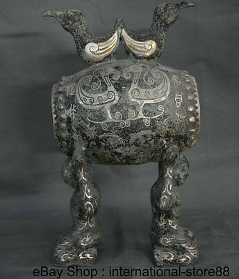 "11"" Old Chinese Bronze Ware Silver Dynasty Double People Crane Drum Sound Statue"