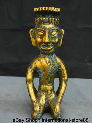 """12.6"""" Antique China Bronze Ware Gilt Dynasty Palace 2 Face Kneel People Statue"""