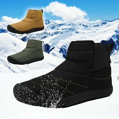 Mens Winter Snow Boots Warm Plush Flat Shoes Outdoor Skiing Ankle Shoes US 7-12