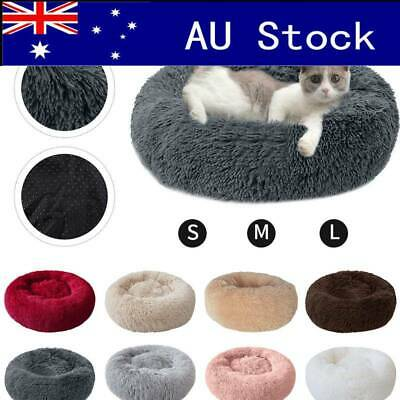 AU Pet Dog Cat Calming Bed Comfy Sleep Kennel Cave Warm Plush Round Nest