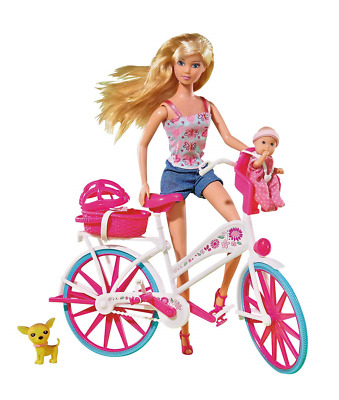 Simba Steffi Bike Tour Doll Barbie Mother And Baby On The Bicycle Girls Toy 29Cm