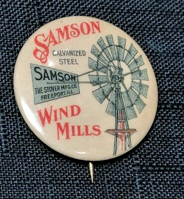 SAMSON WIND MILLS, Freeport, Illinois, Pinback. Antique Pin. The Stover MFG. CO.