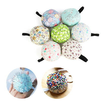 Home Supplies Ball-Shaped Sewing Pin Cushion Needle Holder Floral Wrist Strap