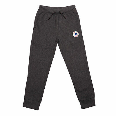 Junior Boys Converse Fleece Chuck Patch Jog Pants In Charcoal- Ribbed Waistband