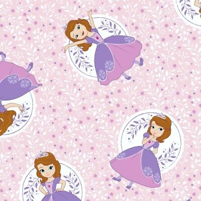 Camelot Fabric Disney Sofia The First Floral Frame in Grape HALF METRE