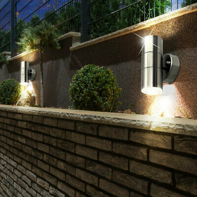 2er Set Pared Up Down LED Exterior Luces Cristal Foco Acero Fachadas Lámparas
