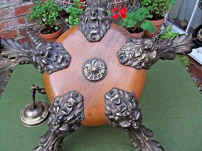 Vintage French Escape To The Chateau Chandelier~Ceiling Light~Pendant~Brass/Oak