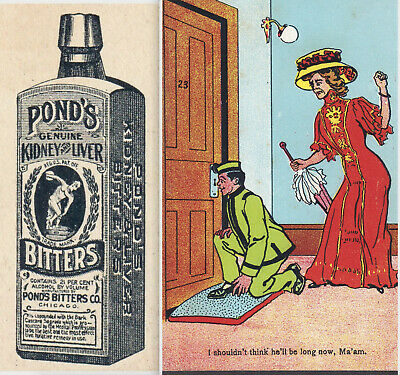 Ponds Bitters Kidney & Liver Cure Bottle Chicago Brandy Rye Victorian Trade Card