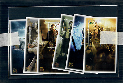 NEW ZEALAND 2003 Lord of the Rings - Return of the King Set of 6 Minisheets MINT