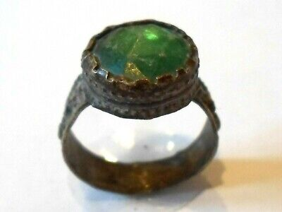 Genuine,Beautiful, Post Medieval Silvered Ring With Green Glass/Stone.