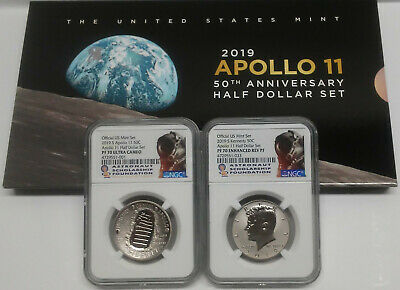 2019 Apollo 11 50th Anniversary Proof 2 Coin Half Dollar Set, w/ OGP, NGC PF70