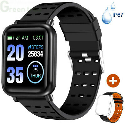 ANCwear Bluetooth Smart Watches Fitness Trackers with Heart Black and Orange