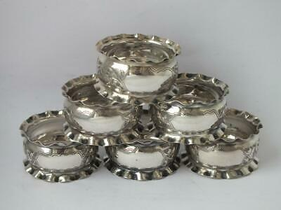 Pretty Set of 6 Antique Chester 1899 Solid Sterling Silver Napkin Rings/H 2.3cm